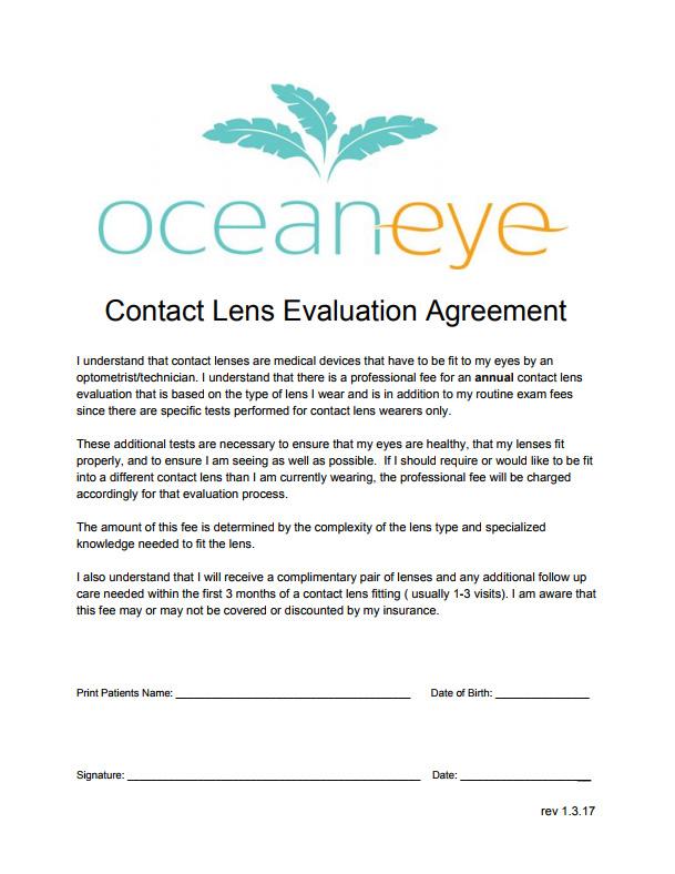 Contact Lens Agreement 1 Pdf Eye Doctor Summerville Summerville